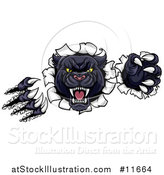 Vector Illustration of a Vicious Roaring Black Panther Mascot Shredding Through a Wall by AtStockIllustration