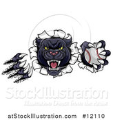 Vector Illustration of a Vicious Roaring Black Panther Mascot Shredding Through a Wall with a Baseball by AtStockIllustration