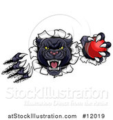 Vector Illustration of a Vicious Roaring Black Panther Mascot Shredding Through a Wall with a Cricket Ball by AtStockIllustration