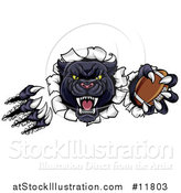 Vector Illustration of a Vicious Roaring Black Panther Mascot Shredding Through a Wall with a Football by AtStockIllustration