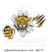 Vector Illustration of a Vicious Roaring Wild Cat Slashing Through a Wall by AtStockIllustration