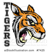 Vector Illustration of a Vicious Snarling Tiger Mascot Face and Text by AtStockIllustration
