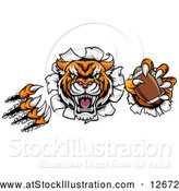 Vector Illustration of a Vicious Tiger Mascot Slashing Through a Wall with an American Football by AtStockIllustration