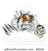 Vector Illustration of a Vicious Tough Bulldog Monster Shredding Through a Wall by AtStockIllustration