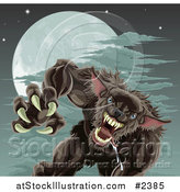 Vector Illustration of a Vicious Werewolf Attacking Under a Full Moon by AtStockIllustration