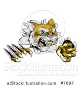 Vector Illustration of a Vicious Wild Cat Slashing Through a Wall by AtStockIllustration