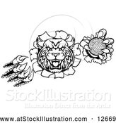Vector Illustration of a Vicious Wildcat Mascot Shredding Through a Wall with a Golf Ball by AtStockIllustration