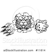 Vector Illustration of a Vicious Wildcat Mascot Slashing Through a Wall and Holding a Bowling Ball by AtStockIllustration