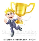 Vector Illustration of a Victorious Blond Businessman Holding a Trophy Cup by AtStockIllustration