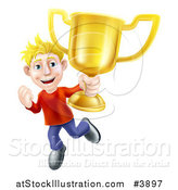 Vector Illustration of a Victorious Blond Man Holding a Gold Trophy Cup by AtStockIllustration