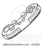Vector Illustration of a Video Game Controller in Black and White by AtStockIllustration