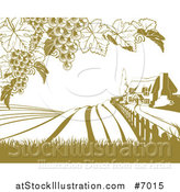 Vector Illustration of a Vineyard Cottage Farm House and Rolling Hills with Grape Vines in Green and White by AtStockIllustration