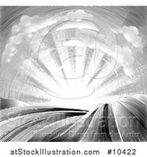 Vector Illustration of a Vintage Black and White Engraved or Woodcut Cloud and Sunrise Sky over Farmland by AtStockIllustration