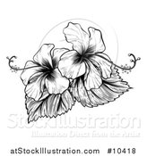 Vector Illustration of a Vintage Black and White Engraved or Woodcut Hibiscus Flower Design by AtStockIllustration