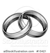 Vector Illustration of a Vintage Black and White Engraved or Woodcut Two Entwined Wedding Rings by AtStockIllustration