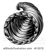 Vector Illustration of a Vintage Black and White Woodcut Cornucopia Horn by AtStockIllustration