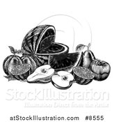 Vector Illustration of a Vintage Black and White Woodcut Still Life of Fruit by AtStockIllustration