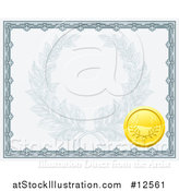 Vector Illustration of a Vintage Certificate Design with a Gold Badge and Laurel Wreath Faded in the Center by AtStockIllustration