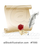 Vector Illustration of a Vintage Feather Quill Pen, Wax Seal and Blank Scroll by AtStockIllustration