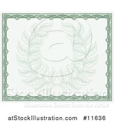 Vector Illustration of a Vintage Green Certificate Design with a Laurel Wreath Faded in the Center by AtStockIllustration