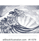 Vector Illustration of a Vintage Styled Japanese Great Wave and Sun Rays by AtStockIllustration