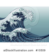 Vector Illustration of a Vintage Styled Japanese Great Wave by AtStockIllustration