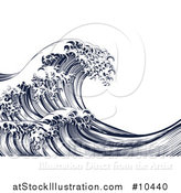Vector Illustration of a Vintage Woodcut Engraved Japanese Styled Ocean Wave by AtStockIllustration