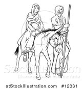 Vector Illustration of a Virgin Mary on a Donkey and Joseph, Black and White by AtStockIllustration