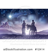 Vector Illustration of a Virgin Mary on a Donkey and Joseph Silhouetted Against Bethlehem by AtStockIllustration