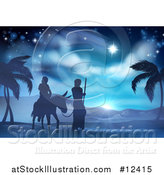 Vector Illustration of a Virgin Mary on a Donkey and Joseph Silhouetted on Their Journey by AtStockIllustration