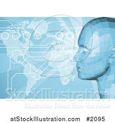 Vector Illustration of a Virtual Face and Atlas Map with Connections by AtStockIllustration