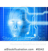 Vector Illustration of a Virtual Face Emerging from a Blue Grid by AtStockIllustration