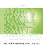 Vector Illustration of a Virtual Face in Profile with Green Pixels by AtStockIllustration