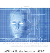 Vector Illustration of a Virtual Face over a Blue Technology Screen by AtStockIllustration