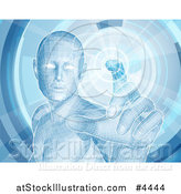 Vector Illustration of a Virtual Man Touching a Screen by AtStockIllustration