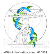 Vector Illustration of a Vitruvian Man with a Green and Blue Double Helix by AtStockIllustration
