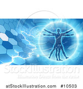 Vector Illustration of a Vitruvian over an Electric Blue Hexagon Background by AtStockIllustration