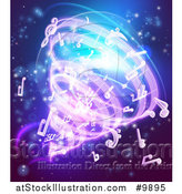 Vector Illustration of a Vortex of Music Notes on Blue by AtStockIllustration