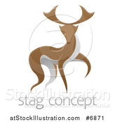 Vector Illustration of a Walking Brown and White Stag Deer Buck over Sample Text by AtStockIllustration