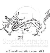 Vector Illustration of a Walking Dragon Outline by AtStockIllustration