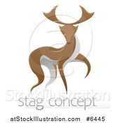 Vector Illustration of a Walking Stag Deer Buck over Sample Text by AtStockIllustration