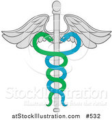 Vector Illustration of a Wand of Hermes or Cadeceus with Two Snakes Forming a Double Helix by AtStockIllustration