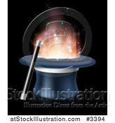 Vector Illustration of a Wand Resting Against a Magic Top Hat with Light by AtStockIllustration