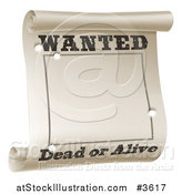 Vector Illustration of a Wanted Dead or Alive Poster with Bullet Holes by AtStockIllustration