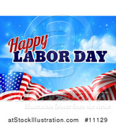 Vector Illustration of a Waving American Flag with Flares and Happy Labor Day Text Against Blue Sky by AtStockIllustration
