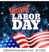 Vector Illustration of a Waving American Flag with Flares and Happy Labor Day Text by AtStockIllustration