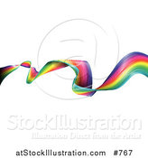 Vector Illustration of a Waving and Twisting Colorful Rainbow Ribbon by AtStockIllustration