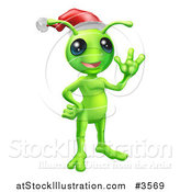 Vector Illustration of a Waving Christmas Alien Wearing a Santa Hat by AtStockIllustration