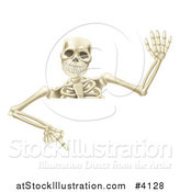 Vector Illustration of a Waving Halloween Skeleton Pointing down at a Sign by AtStockIllustration
