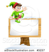 Vector Illustration of a Waving Happy Christmas Elf Sitting on a Sign by AtStockIllustration